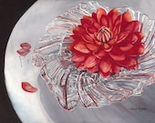 """Watercolor Print """"Dahlia in a Crystal Bowl"""" by Sandi McGuire"""