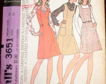 Easy Vintage 1970s Sewing Pattern McCall's 3651 Princess Jumper Dress, Neckline Options, Womens Misses Size 14 Bust 36 Uncut Factory Folds