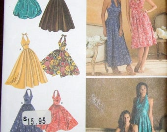 Sewing Pattern Simplicity 3823 Halter Dress Maxi Gown Bubble Skirt Womens Misses Size 6 8 10 12 14 Bust 30 31 32 34 36 Uncut Factory Folds