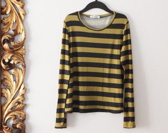 Woman top t-shirt long sleeve. Stripes color green olive and charcoal. Sizes S to XL. Made in Italy.