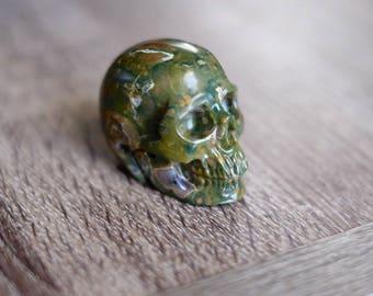 Rainforest Jasper Stone Carved Crystal Skull