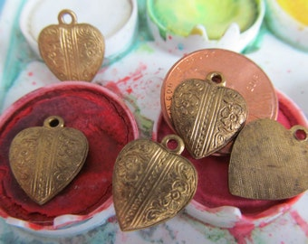 8 Antique Patina Solid  Brass Hearts