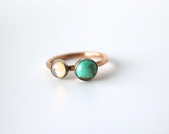 turquoise and opal double stone ring, sterling silver 14k gold fill, two stone jewelry, december october birthstone