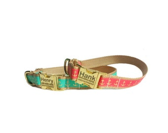 Nautical Dog Collar, Coral and Teal with Gold Anchors,  Being Discontinued,All Sales Final,