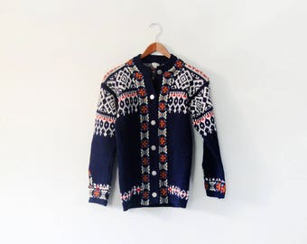 Vintage Norwegian Wool Cardigan Sweater - Navy Blue / Red / White Women's Size 38 / Small