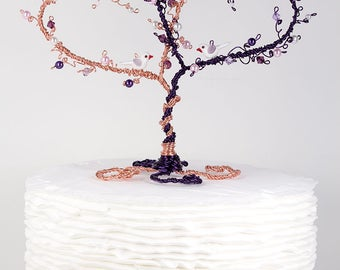 Wedding Cake Topper Two Hearts Entwined with Lovebirds or Owls Custom Wedding Topiary Wire Sculpture Heart Tree