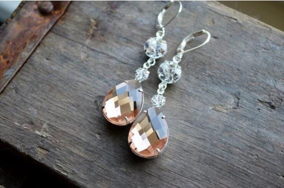 Long Crystal Earrings - Blush Peach - Wedding Bridal Jewelry