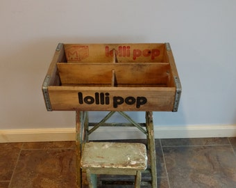 Vintage LolliPop Soda Pop Crate with 4 Dividers Wooden Advertising Case