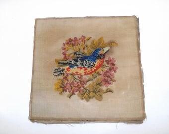 Antique Victorian raised Berlin woolwork stump wool work beadwork bird kingfisher flower cross stitch design