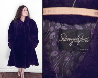 Purple Sheared Beaver Coat 1980s SDROUGIAS Furs Op Art Lining Size Med / Large