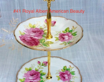 Royal Albert American Beauty 2 tier Tea Stand