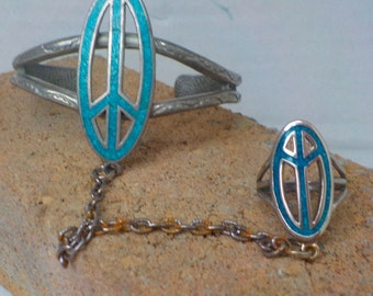Hippie Jewelry...Retro Peace Sign Bracelet and ring...Peace Sign Cuff Bracelet