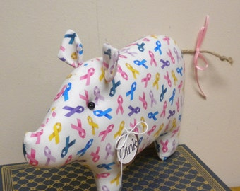 Cancer Awareness Ribbons Pig - Made To Order, Cancer Support Gifts, Survivor Gifts, Remembrance Keepsakes