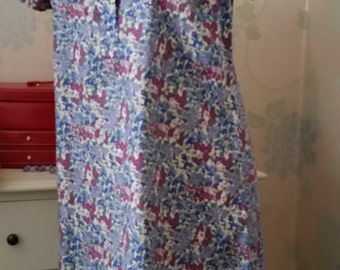 Liberty print dress, floral print dress, short sleeves, cotton shirt dress, cotton dress, liberty cotton dress blue floral cotton dress.