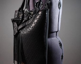 Black Leather Tote Bag - Handcrafted Black Leather Tote - Women's Leather Bags - OOAK Black Tote Bag