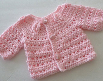 Crochet Baby Sweater, Baby Girl Sweater, Crochet Baby Girl, Pink Baby Sweater, Baby clothing, Baby accessories