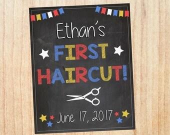 First Haircut Sign PRINTABLE photo prop chalkboard DIGITAL 1st hair cut
