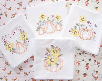 Embroidered Set of Flour Sack Towels with Pumpkin and Sunflower Designs Ripple Style