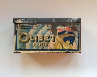 Antique Olibet Biscuit Tin, Paris, Large French Container 1900