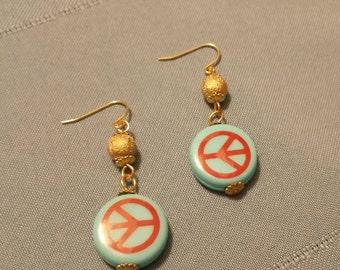Peace Sign Drop Earrings