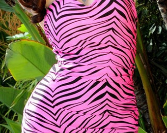 Clearance Pink Zebra 1 Piece Swimsuit in STOCK XS-2XL