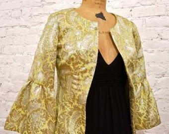 60s Metallic Gold Brocade Evening Jacket
