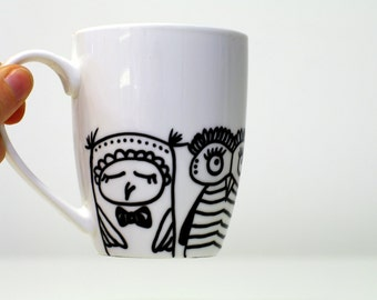Mug bird cute Mug Owl mug Cute Bird mug Coffee cup Animal mug Bird cup Children mug Baby shower gift for kids Funny Mom Mug Bird lover mug