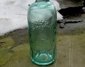 vintage hutchinson soda bottle scranton pa, aqua, blob top