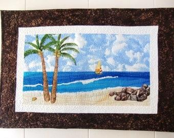 Landscape Art Quilt, Tropical Beach, Coastal Decor, Ocean Wall Art, Wall Hanging, Palm Trees, Textile Fiber Art, OOAK, Handmade in Hawaii