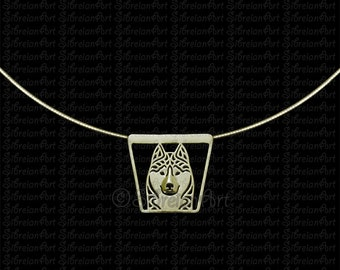Siberian Husky frontal trapeze - Gold pendant and chain.