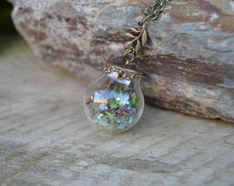 Enchanted forest necklace, moss necklace glass terrarium necklace, moss jewelry, real branch necklace, fairy dust necklace nature lover gift