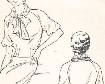 Pictorial Review 6210 Misses' Vintage 1930s Blouse with Tie Collar Sewing Pattern