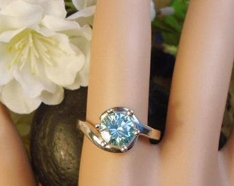 1.41 Ct Sea Blue Moissanite Ring, Setting Solid Sterling Silver Ring, 1.41 Ct 7.40 mm Diamond, Choice settings