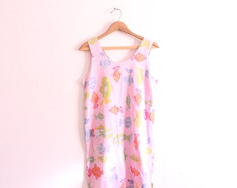 Pink Fish Pattern 90s Beach Dress