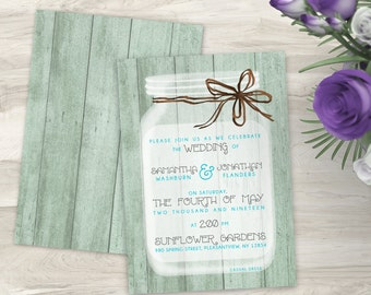 Mason Jar Wedding Invitations - Rustic Wedding Invitation - Country Wedding - Wedding Stationery - Rustic Wedding Decor - Wedding Decoration