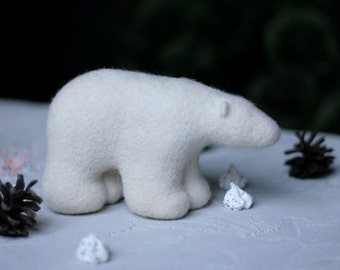 Polar Bear Needle Felt - White Felt Bear - Needle Felted Bear - Soft Sculpture - Felt Animals - Felt Plushie - OOAK Felted Figurine