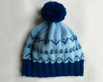 Blue Fair Isle hat with pompom  - hand knitted , women's beanie , light blue , knitted hat , winter hat