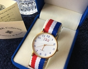 Jackie Kennedy American Flag Watch - RWB Watchband, New Battery, Box and Certificate