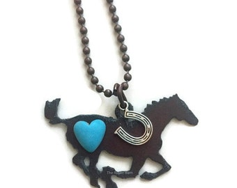 HORSE necklace with pewter horseshoe charm and heart made of Rustic Rusty Rusted Recycled Metal