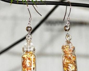 Earrings, gold, silver, pink gold, glass earrings, handmade