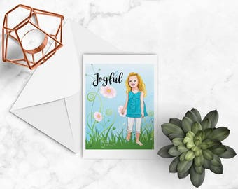 Joyful Inspirational Note card with envelope of barefoot young girl, artistic greeting card, printed from whimsical drawing of children.
