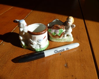 Pair of Mini Planters Bunny and Angel
