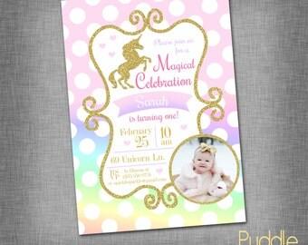 Glitter Unicorn Birthday Invite
