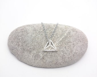 Silver triangle geometric Necklace stainless steel chain//Silver plated 925 brass triangle pendant 3D minimal geometric necklace