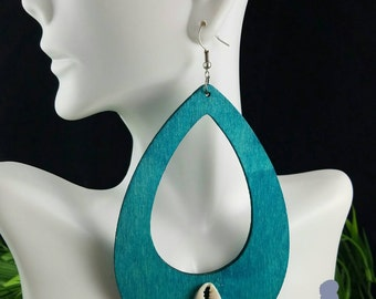 Oversize Teardrop (teal)- Handmade Wooden Earrings