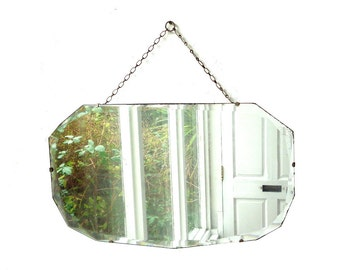 Vintage Art Deco bevelled glass mirror 1930s wall hanging over mantle mirror glass with chain and chrome fan shaped clips retro home decor