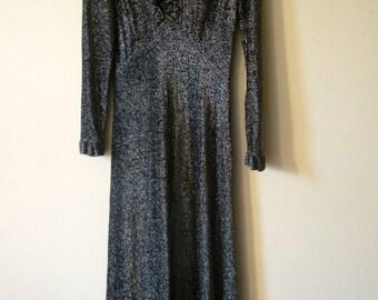Lurex Maxi Dress 1970's Black/Silver