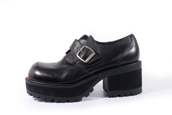90s Vintage Platform Shoes Black Leather Chunky Oxfords