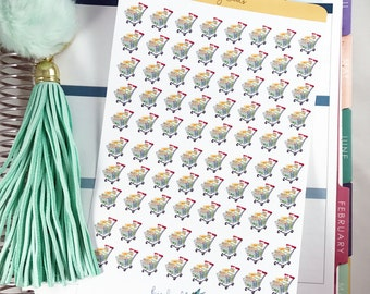 Grocery Cart Stickers | Food Shopping Sticker / Planner Grocery Shopping Stickers for Erin Condren / Food Shopping / Grocery Stickers