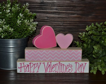 Happy Valentines Day Decor Wooden Valentine's Day Block Set Valentine's Day Decoration Holiday Decor Valentines Decoration Chevron Hearts